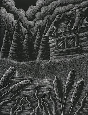 Scratchboard Drawing - Cabin By A Lake by Catlin Perry