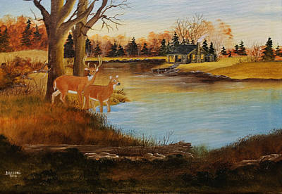 Buck And Doe Painting - Cabin By The Lake by Darlene Prowell