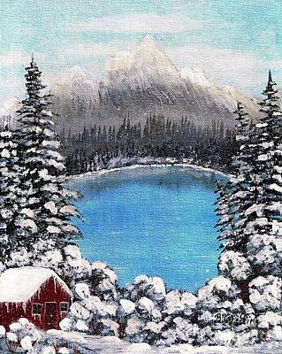 Snow Covered Ground Painting - Cabin By The Lake - Winter by Barbara Griffin