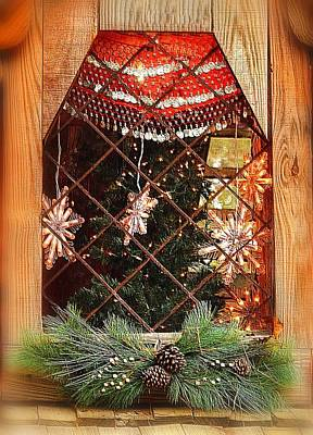 Photograph - Cabin Christmas Window by Nadalyn Larsen
