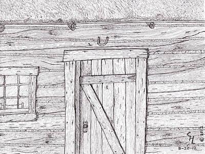 Cabin Window Drawing - Cabin by Clark Letellier