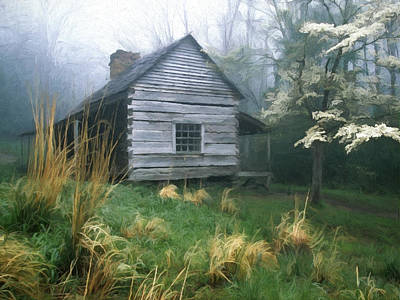 Smoky Painting - Cabin Fever On Rainy Spring Day In The Great Smoky Mountains by Elaine Plesser