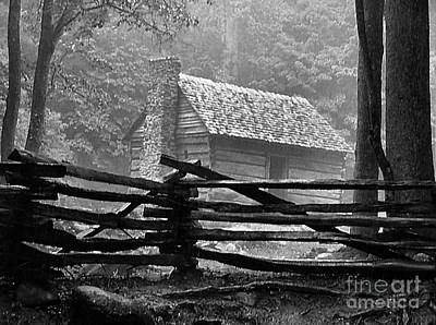 Julie Dant Black And White Photograph - Cabin In The Fog by Julie Dant