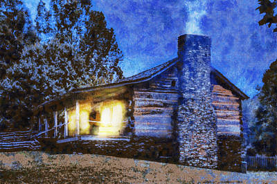 Painting - Cabin In The Mountains by Barry Jones