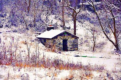 Cabin In The Snow Art Print by Bill Cannon
