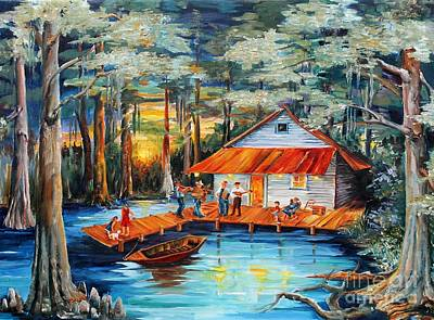 Musicians Paintings - Cabin in the Swamp by Diane Millsap