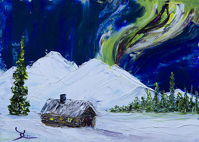 Northern Lights Painting - Cabin In The Wilderness by Dee Carpenter