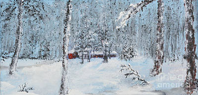 Indiana Painting - Cabin In The Woods by Alys Caviness-Gober