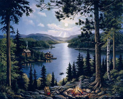 Cabin In The Woods Art Print by John Zaccheo
