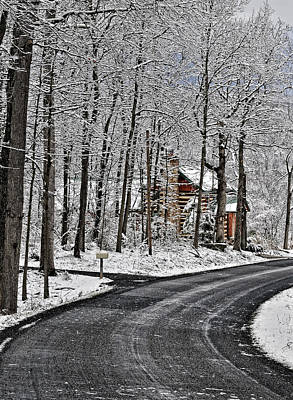 Winter Scenes Photograph - Cabin In The Woods by Lara Ellis