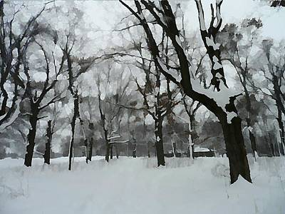 Snow Drifts Mixed Media - Cabin In The Woods by Victoria Fischer