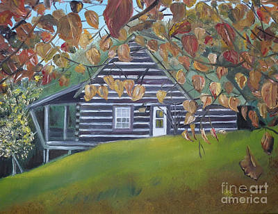Painting - Cabin In The Woods - Wolfpen Gap - Ellijay Georgia by Jan Dappen