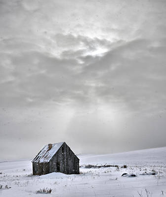 Antiquated Photograph - Cabin In Winter by Leland D Howard
