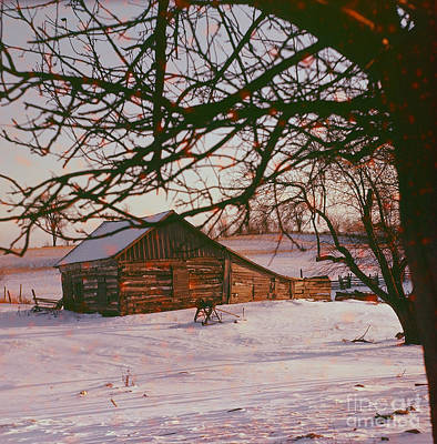 Photograph - Cabin In Winter by Vintage Photography