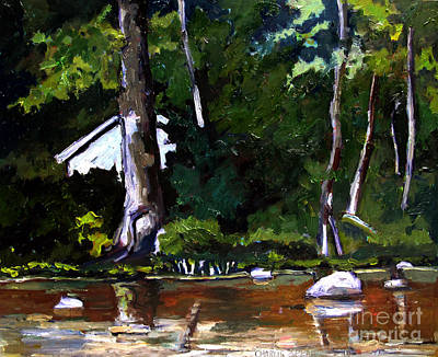 Sycamore Painting - Cabin On The Eel by Charlie Spear