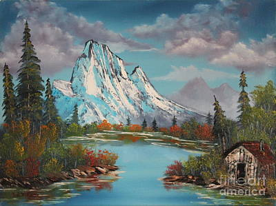 Bob Ross Painting - Cabin On The Lake by Bob Williams