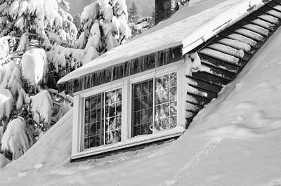 Winter Photograph - Cabin Window Covered In Snow by Brandon Bourdages