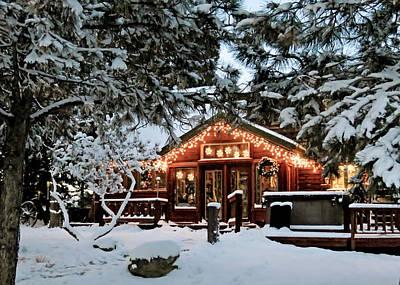 Cabin With Christmas Lights Art Print