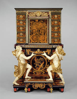 Marquetry Painting - Cabinet On Stand Attributed To André-charles Boulle by Litz Collection