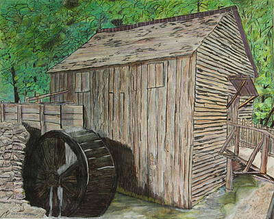 Cable Mill In Cade's Cove Art Print by David Cardwell