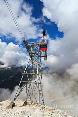 cableway in Italian Dolomites Art Print by Antonio Scarpi