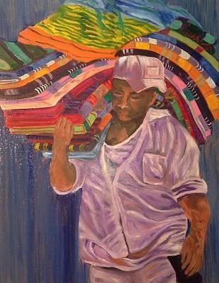 Sweating Painting - Cabo Beach Retailer by Linda Scott