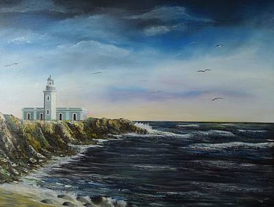 Waves Crashing Painting - Cabo Rojo Lighthouse by Tony Rodriguez