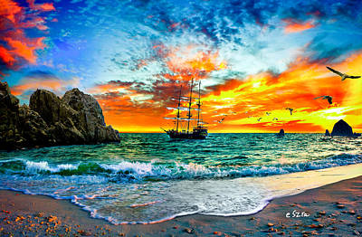 Cabo San Lucas-fantasy Pirate Ship-sailing Sunset Art Print by Eszra Tanner