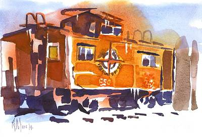 Wintertime Painting - Caboose In Snow And Ice by Kip DeVore