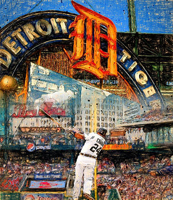 Detroit Tigers Painting - Cabrera Wall Of Awesome by John Farr