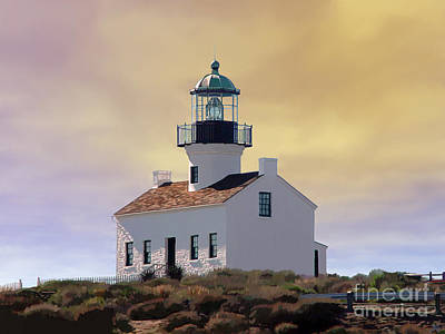 San Diego Artist Digital Art - Cabrillo Lighthouse by John Engen