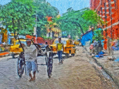 Digital Art - Cabs In Calcutta India by Digital Photographic Arts