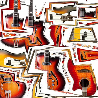 Acoustic Guitar Mixed Media - Cacophony by Russell Pierce
