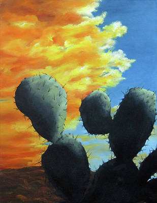 Painting - Cacti At Sunset by Roseann Gilmore