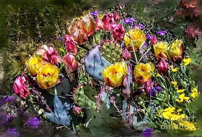 Cacti Flowers Painterly Art Print by Georgianne Giese