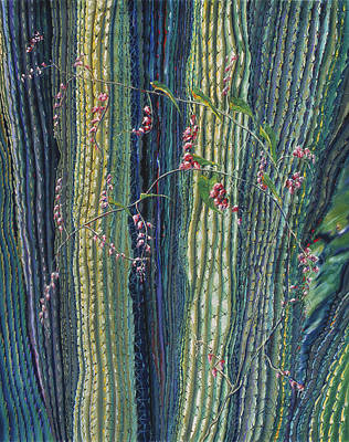 Painting - Cactus And Bleeding Hearts by Donna Page