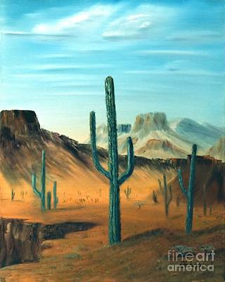 Painting - Cactus And Mesa by Stephen Schaps
