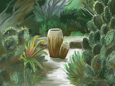 Painting - Cactus And Pots by Jean Pacheco Ravinski