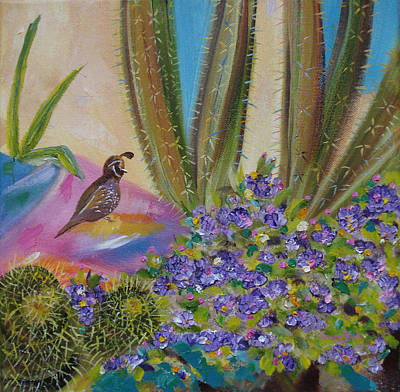 Painting - Cactus And Quail by Judith Rhue