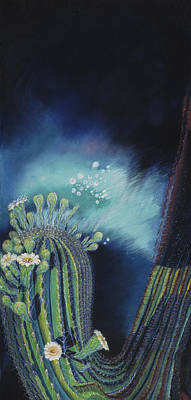 Painting - Cactus  Aurora Borealis by Donna Page