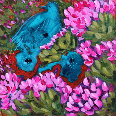 Cactus Flower Blue Bird Dream Art Print