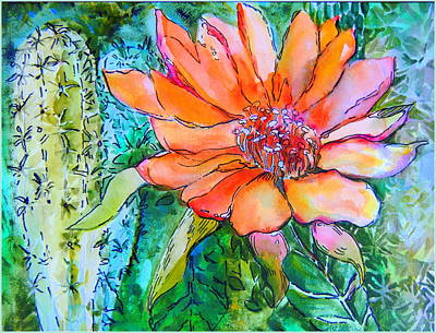 Cactus Flower Original by Mindy Newman