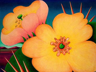 Drawing - Cactus Flower by Richard Dennis