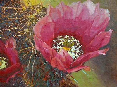 Cactus Flower Series-hedgehog Cactus Original by Claire Bistline
