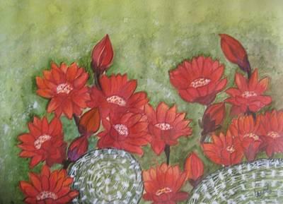 Cactus Flowers Art Print by Usha Rai