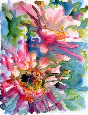 Cactus Flowers Watercolor On Yupo Art Print by Yevgenia Watts