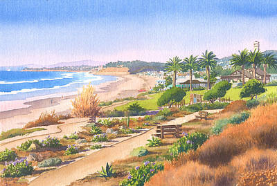 Beach Scene Painting - Cactus Garden At Powerhouse Beach by Mary Helmreich