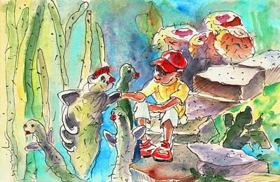Fun Art Drawing - Cactus Garden In Lanzarote 01 by Miki De Goodaboom