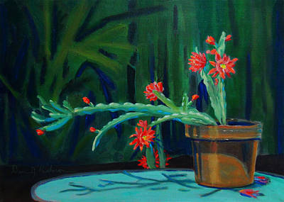 Painting - Cactus In Bloom 1 by Dan Redmon