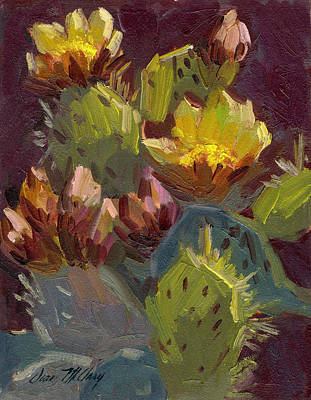 Blooming Painting - Cactus In Bloom 1 by Diane McClary